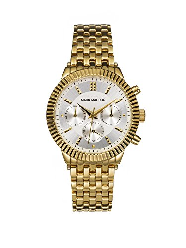 mark maddox women's quartz watch with silver dial chronograph display and gold bracelet mm0009-27