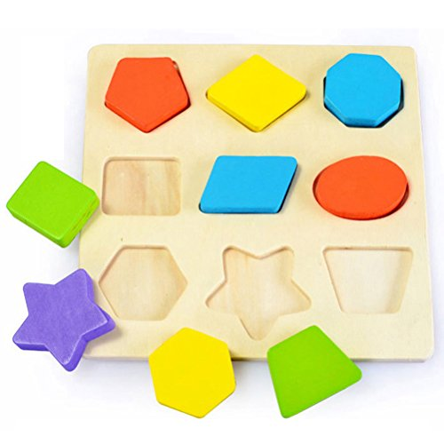 TOYMYTOY Wooden Shape Puzzle Montessori Early Educational Toys Intellectual Geometry Toys Set