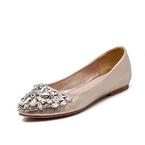 AllhqFashion Femme Tire Pointu Non Talon Microfibre Couleur Unie Chaussures à Plat Doré