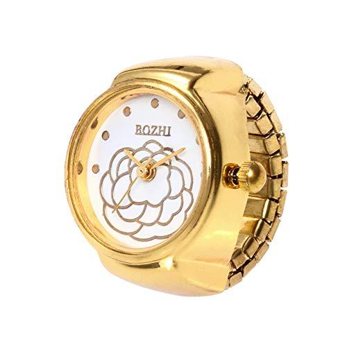 Neue Armbanduhr FGHYH Männer Zifferblatt Quarz Analog Uhr Kreative Stahl Cool Elastic Quarz Finger Ring Uhr(GD)
