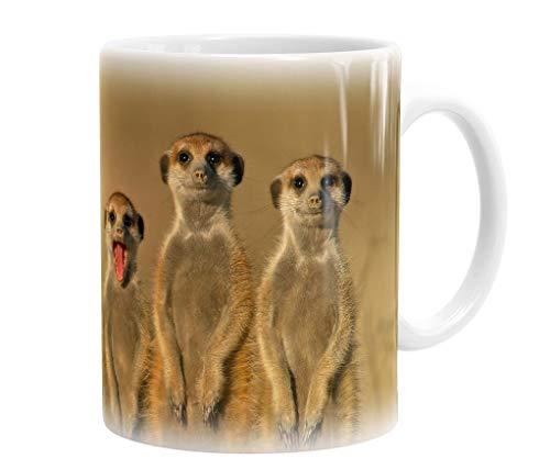 Becher / Tasse / Kaffeebecher / Kaffeepott aus Keramik - 330 ml Motiv: Erdmännchen in der Kalahari ( 01 )
