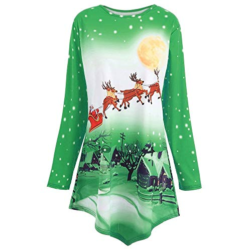 Innerternet Damen Weihnachtspullover Off Shoulder Langarm Weihnachtsmann Druck -