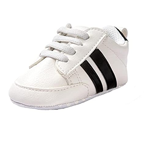 Saingace White Baby Toddler Soft Sole Leather Shoes Infant Boy Girl Sneakers Toddler Shoes (Age 0~6M)
