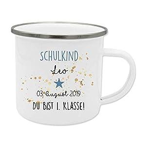 Tasse mit Name des Erstklässlers zur Einschulung