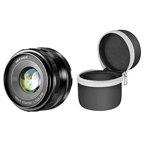 Neewer Obiettivo Fisso Primario 35mm f/1,7 Focus Manuale con Custodia per Fotocamere Mirrorless Digitali Sony E-Mount A6500, A6300, A6100, A5000, A5100, A6000, A9, NEX 3 NEX 3N NEX 5 NEX 5R NEX 6 7