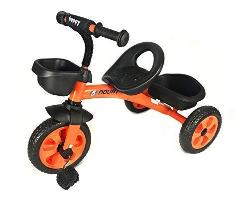 Infantil 3 Ruedas Pedal Trike - en Naranja - con Frontal y Trasero Cesta - para Edades 3-5 Años