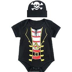 Mombebe Bebé Niños Pirata Halloween Disfraz Bodies con Sombrero (12-18 Meses, Pirata)