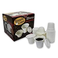 Disposable Cups for Use in Keurig® Brewers - Simple Cups - 25 Cups, Lids, Filters with Easy Close Stand - Use Your Own Coffee in K-cups