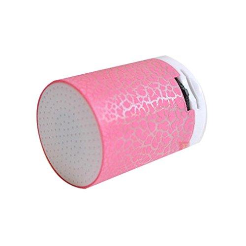 Amlaiworld Bunt LED Tragbare Mini MP3-Player Urlaub Sport USB Musik Player Kabellos Freizeit Lautsprecher Niedlich Zylindrisch Hände Elektronisch Geräte (Rosa)