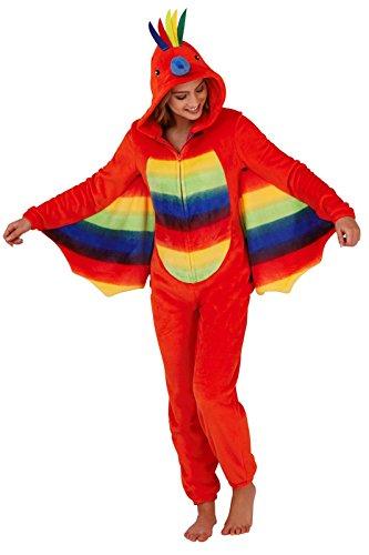 Loungeable Damen Jumpsuit Overall Tiere Gesichter Öhrchen 3D Kapuze Papagei 798041 M