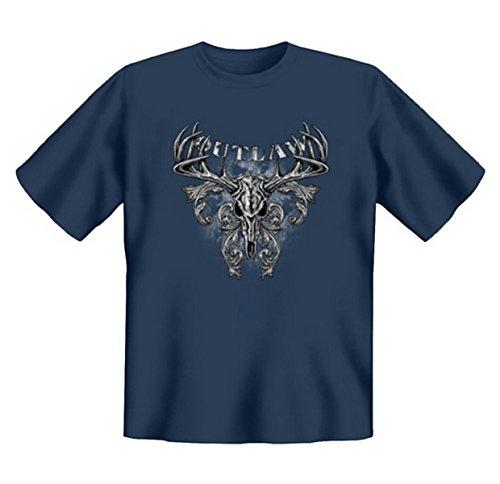 Biker & Motorrad T-Shirt geil bedruckt / Outlaw ! Steelblue