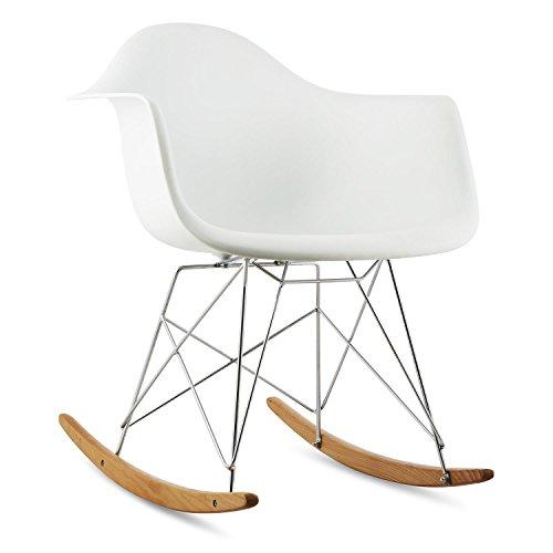 Möbel Schaukelstuhl (oneConcept Aurel • Schaukelstuhl • Schalenstuhl • Designstuhl • Retro-Stuhl • 70er Jahre Retro Look • Maße ca. 62 x 77,5 x 62,5 cm (BxHxT) pro Stuhl • breite Sitzfläche • hochwertige Hartplastik-Schale • Birkenholz • zeitlos • komfortabel • weiß)