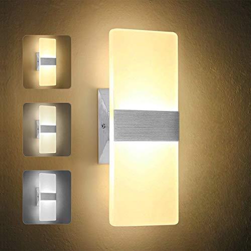 OOWOLF Lámpara De Pared Interior, 7W Apliques Pared Led Moderna Regulable 3 Temperatura De Color 3000K...