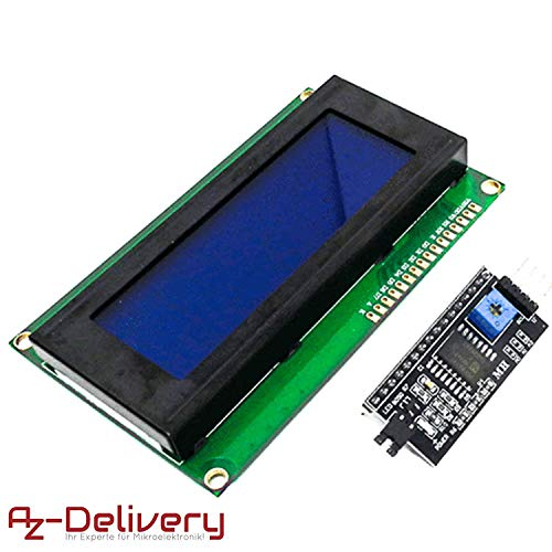 azdelivery hd44780 modulo display lcd 2004 display bundle con interfaccia i2c 4x20 caratteri (sfondo blu) con ebook