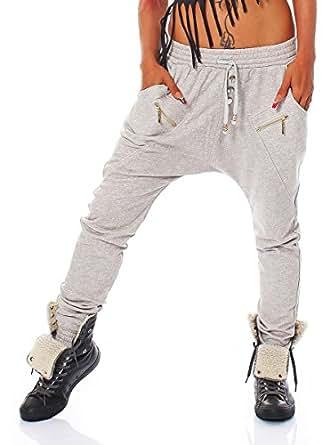 10546 Fashion4Young Damen Haremshose Hose Baggy Boyfriend Freizeithose Jogginghose Sporthose 5 Größen (S=36, Hellgrau)