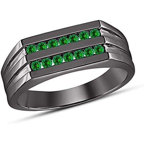 Vorra Fashion brillante taglio Rotondo Verde zaffiro argento 925placcato rodio nero anello per matrimonio a fascia - 5 Row Band Ring