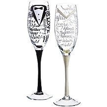 Juego de 2 copas de champán para novia y novio pintadas ...