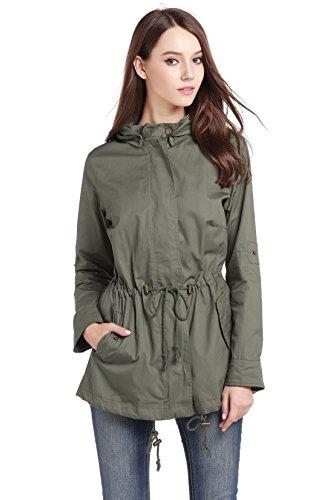 MILEEO Damen Leichte Jacke Trenchcoat mit Kapuze Frühling Sommer Herbst Übergangsjacke mit Reißverschluss Olivgrün Olivgrün