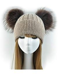 Cappello Cashmere Doppio PON PON Pelliccia Cappellino Cuffia Donna Uomo  Bambina Bambino Hat Fur Murmasky Woman Kids Baby Poms… 97caae562861