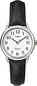 Timex Easy Reader Women's Black Leather Strap Silver-Tone Case with Date T2H331