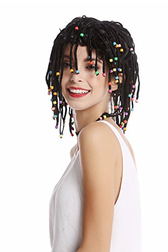 WIG ME UP - 90834-ZA103 Perruque Dame Homme tressée mèches couettes et Perles Noire Afro caraïbes Reggae Look Gigolo Sexy Hippie