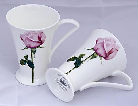 Pair of Elegant Rose Fine Bone China Cone Mugs