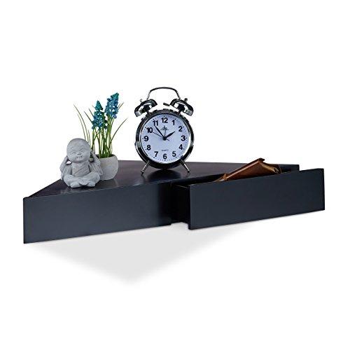Relaxdays Eck Wandregal, Dreieckige Ablage, 2 Schubladen, Unsichtbare Befestigung, Dekorativ, MDF, 8x60x30cm, Schwarz (Hängen Schublade 2)