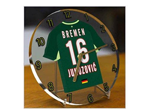 Wanduhr mit Fußball-Motiv, UEFA Champions League Teams, personalisierbar Werder Bremen FC Football Team Damen Trikot Barcelona