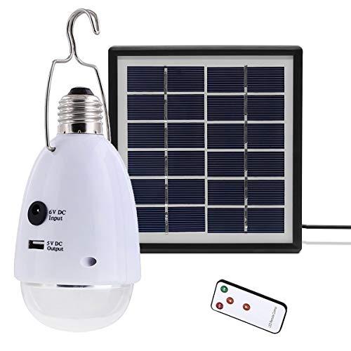 VAWAR 12 LED Solarlampe, dimmbare Solarleuchten mit Fernbedienung, Solarbetrieben E27 Notleuchte, DC 5V USB externe Akku Power Bank -