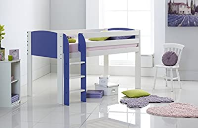 Scallywag Kids Children's Mid Sleeper Cabin Bed Narrow Shorty - Straight Ladder - End Panels & Ladder In 8 Colour Options. Made In The UK.