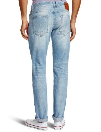 Haikure Herren Boot-Cut Jeanshose Blau - Bleach Wash Destroy