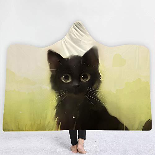 XPY-hooded blanket Handgemalte Tierserie Katze verdicken Sie Decke mit Kapuze Heim Kinder Decke Büro Student Nickerchen Decke Klimaanlage Decke Schal Umhang, 150 * 200cm