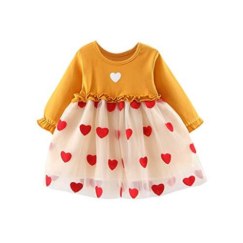 Sanahy Kleinkind Baby Kinder Mädchen Rüschen Tüll Patchwork Karotten Print Liebe Herz Print Kleider Kleidung Tutu Prinzessin Party Kleid