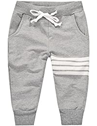BOBORA Garcons Pantalons de Sport en Coton Pantalon Taille Elastique 1-10Ans