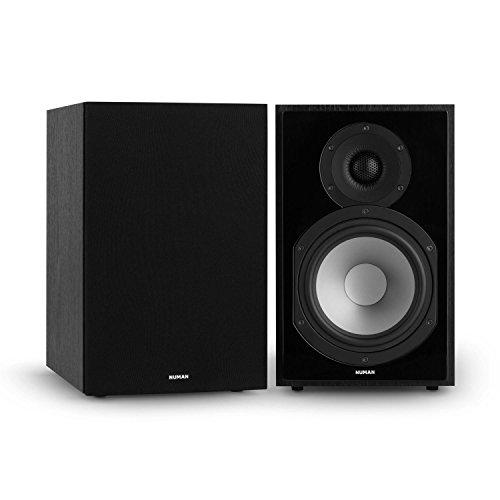 NUMAN Reference 802 • Regal-Lautsprecher • Lautsprecher-Boxen • HiFi-Boxen • Lautsprecher-Paar • high-end Boxen • 2-Wege-System • Spitzenleistung 120 Watt • 4 Ohm • schwarzes Cover • schwarz