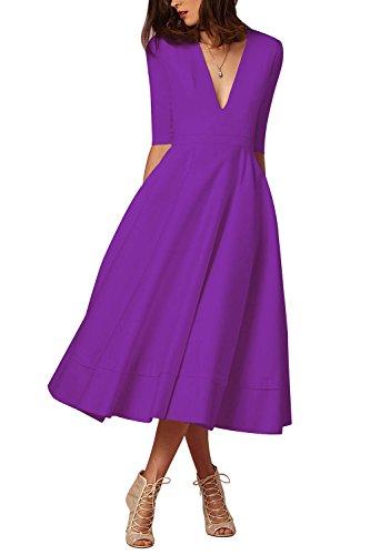 t Rockebillykleider V Ausschnitt Cocktailkleider Partykleider Midi-Lang Abendkleider Violett 2XL ()