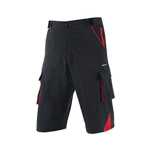 BicRad Herren MTB Shorts Radsport Kurze Fahrrad Hosen Freizeit Ohne Sitzpolster (XL, Schwarz-Rot)