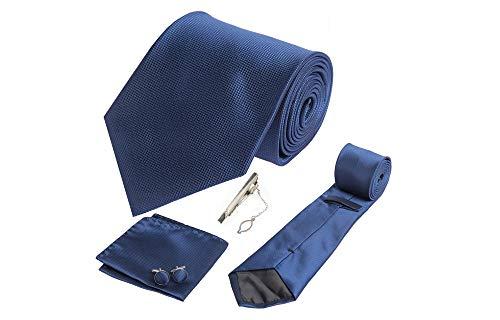 Coffret San Francisco - Cravate bleu marine, boutons de manchette, pince à cravate, pochette de costume