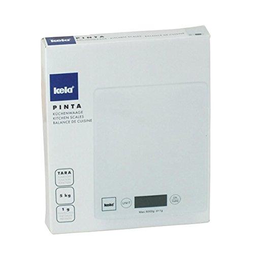 Kela 15740 Digitale Küchenwaage, Glas, 1 g-Feineinteilung, Tara-Funktion, Bis 5 kg Gewicht, Pinta, Weiß - 5