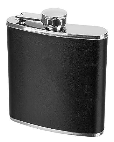 Flasque en acier inoxydable avec cuir Housse 120ml ou 180ml, Schwarz, 180ml