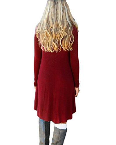 ZANZEA Damen Langarm Lose Asymmetrisch Boho Oberteil Hemd Bluse Tunika Mini Kleid Wein Rot