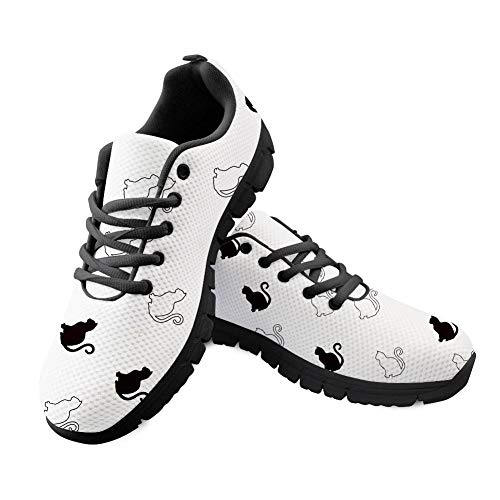 Shinelly Scarpe Sportive da Uomo con Motivo a Gatto, Traspiranti, Leggere, Bianco (Bianco), 40 EU