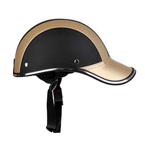 Homyl Motorradhelm Sommer Baseball Cap Schutzhelme Tropenhelm Fahrradhelm für Damen Herren - Schwarz Gold