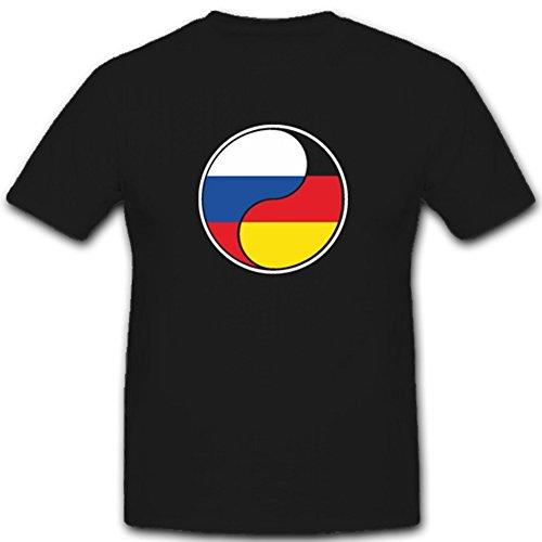 Deutsch Russisches Yin Yang Deutschland Russland Fahne Flagge - T Shirt #4360, Farbe:Schwarz, Größe:Herren L