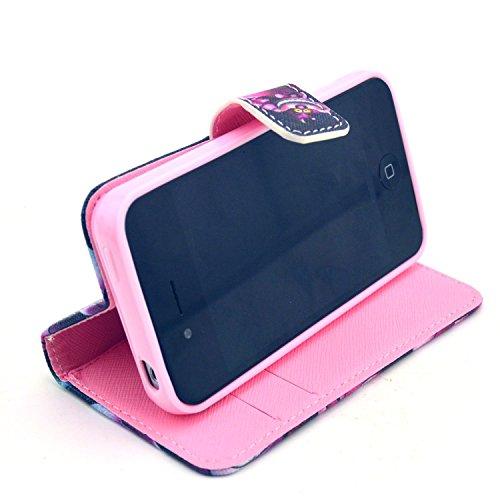 MOONCASE iPhone 4 Case Motif Conception Coque en Cuir Portefeuille Housse de Protection Étui à rabat Case pour iPhone 4 4S P07