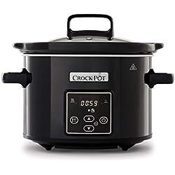 Crock-Pot mijoteuse électrique programmable avec affichage numérique, 2,4litres (2personnes), fonction maintien au chaud, coloris noir et chrome