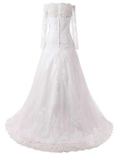 JAEDEN Prinzessin Tuell Langarm Hochzeitskleider Lang A Linie Brautkleid Schleppe Elfenbein