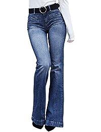 8f08a784781ac Aleumdr Femme Jean Évasé Pants Pantalon Boutonné Jeggings Stretch à Taille  Haute Coupe Slim Fit en
