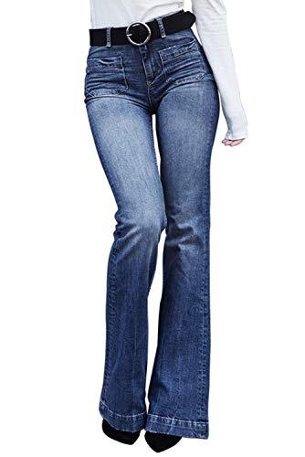 bf9b78e10 Aleumdr Femme Jean Évasé Pants Pantalon Boutonné Jeggings Stretch à Taille  Haute Coupe Slim Fit en