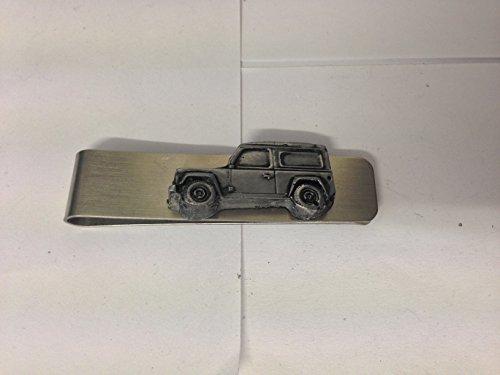 Preisvergleich Produktbild Edelstahl Geld Clip mit einem Land Rover Defender 3D Zinn Effekt Emblem ref115